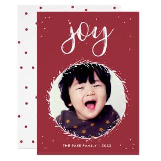 Freudewreath-- rotes u. weißes Feiertags-Foto Karte