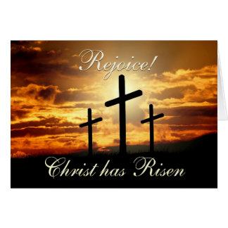 Freuen Sie sich! Christus ist, Ostern-Kreuz Karte
