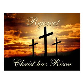 Freuen Sie sich! Christus ist, Ostern-Kreuze Postkarte