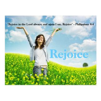 Freuen Sie sich in der christlichen Postkarte