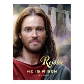 Freuen Sie sich. Jesus wird gestiegen. Postkarte