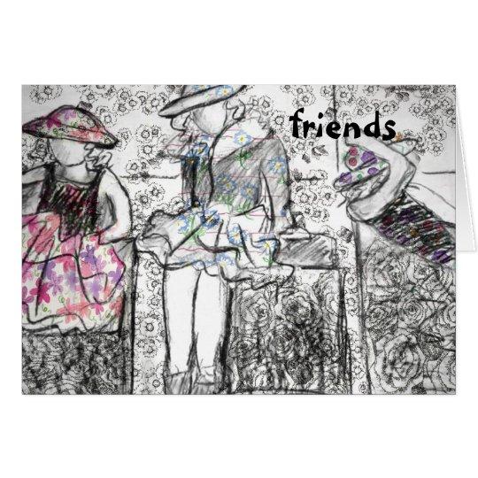 Freund-Holzkohle, die Collagen-Anmerkungs-Karte Grußkarte