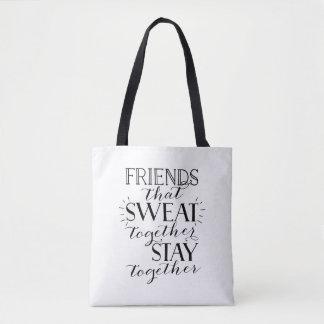 Freunde, die zusammen Turnhallen-Taschentasche Tasche
