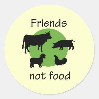 Freunde, nicht Nahrung Runder Aufkleber