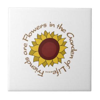 Freunde sind Blumen Kleine Quadratische Fliese