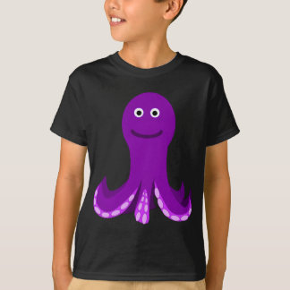 Freundliche lila Cartoon-Krake T-Shirt