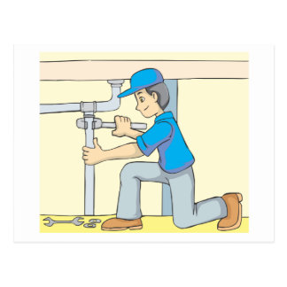 Freundlicher Klempner-Cartoon Postkarten