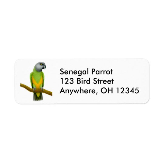 Freundlicher Senegal-Papageien-Aufkleber Rücksendeetiketten