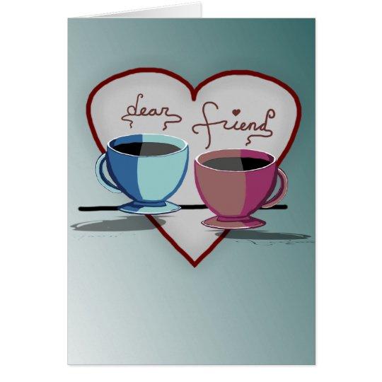 Freundschafts-Kaffeetasse-Valentinstag-Karte Grußkarte