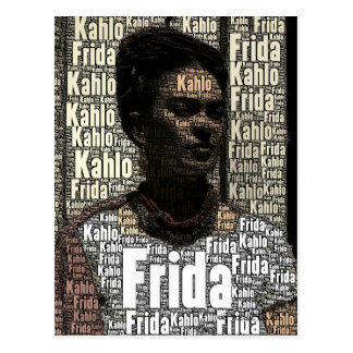 Frida Kahlo, die Porträt beschriftet Postkarte