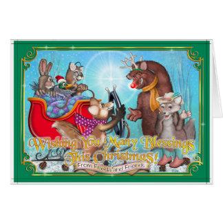 Frieda Schwanz-Weihnachtskarte - Sleigh-Fahrt Karte