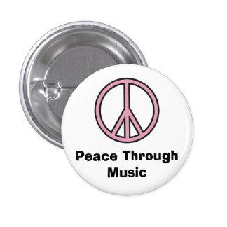 Frieden durch Musik Runder Button 3,2 Cm