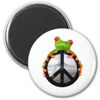 Frieden frog1 runder magnet 5,1 cm