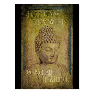 Frieden kommt aus Buddha-Zitat Postkarte