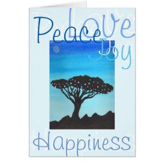 Frieden, Liebe, Freude u. Glück-Akazien-Baum Karte