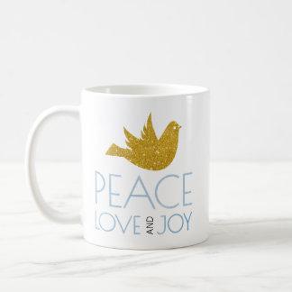 Frieden, Liebe, Freude Watercolor, Gold tauchte Kaffeetasse