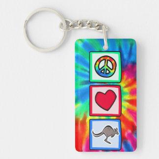 Frieden, Liebe, Kängurus Einseitiger Rechteckiger Acryl Schlüsselanhänger