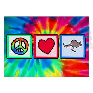 Frieden, Liebe, Kängurus Grußkarte