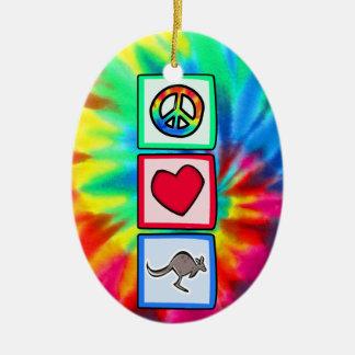 Frieden, Liebe, Kängurus Ovales Keramik Ornament