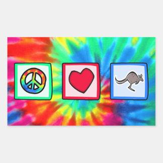 Frieden, Liebe, Kängurus Rechteckiger Aufkleber