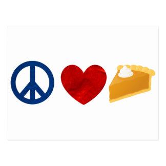Frieden, Liebe, Kürbis-Torte Postkarte