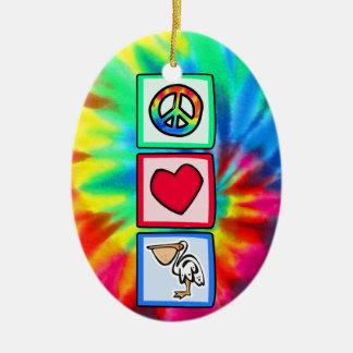 Frieden, Liebe, Pelikane Ovales Keramik Ornament