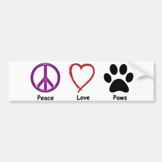 Frieden, Liebe, Tatzen. Alles It'a ein Autoaufkleber