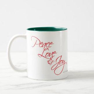 Frieden, Liebe und Freude Zweifarbige Tasse