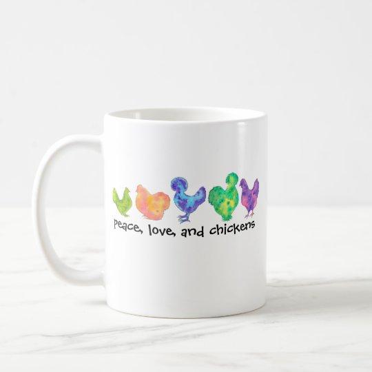 Frieden, Liebe und Huhn-Tasse Tasse
