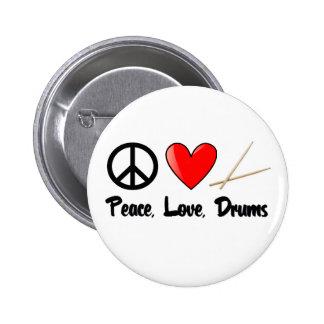 Frieden, Liebe und Trommeln Runder Button 5,7 Cm