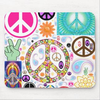 Frieden u. Paisley-Collage Mauspads