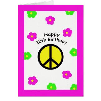 Frieden und Blumen-12. Geburtstags-Karte Karte