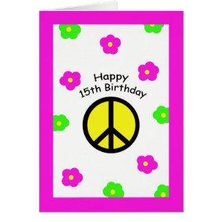 Frieden und Blumen-15. Geburtstags-Karte Karte