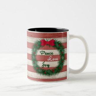 Friedens-, Liebe-u. Freude-rote Zweifarbige Tasse