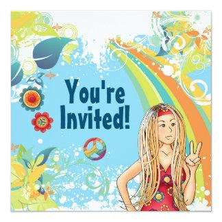 Friedensblonde Hippie-Mädchen-Geburtstags-Party Karte