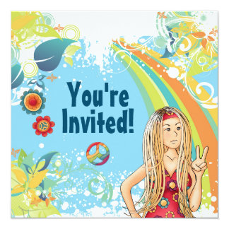 Friedensblonde Hippie-Mädchen-Geburtstags-Party Quadratische 13,3 Cm Einladungskarte