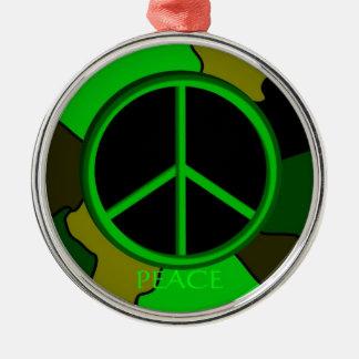 FriedensCamouflage-Verzierung Rundes Silberfarbenes Ornament