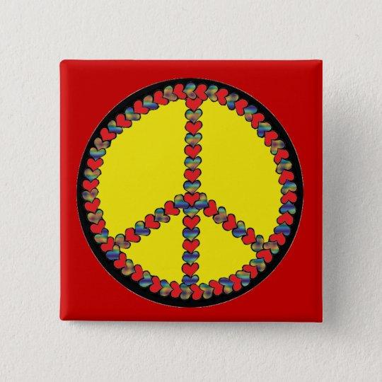 Friedensherz-Quadratknopf Quadratischer Button 5,1 Cm