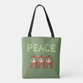 Friedenshippie-Mädchen-Küken in grüne Tasche
