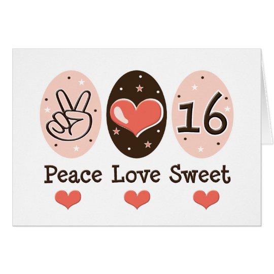 FriedensLiebe-16. Geburtstag-Geburtstags-Karte Grußkarte