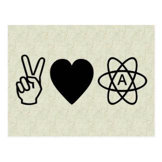 FriedensLiebe-Atheismus Postkarte