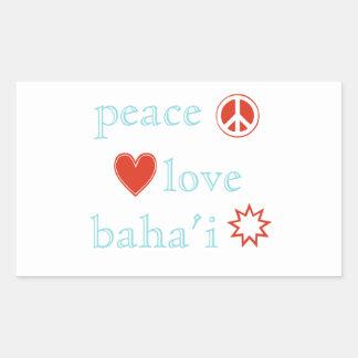 FriedensLiebe Bahai Rechteckiger Aufkleber