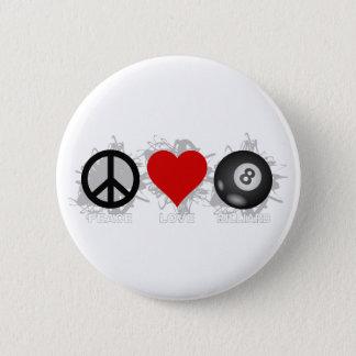 FriedensLiebe-Billard-Emblem Runder Button 5,7 Cm