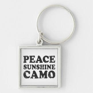 FriedensLiebe-Camouflage Silberfarbener Quadratischer Schlüsselanhänger
