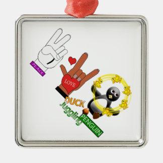 FriedensLiebe ENTE, die PENGUIN.png jongliert Quadratisches Silberfarbenes Ornament
