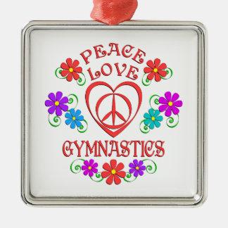 FriedensLiebe-Gymnastik Quadratisches Silberfarbenes Ornament