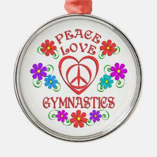 FriedensLiebe-Gymnastik Rundes Silberfarbenes Ornament