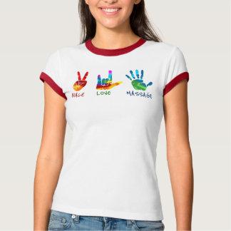 FriedensLiebe-Massage-Hände - gefärbte Krawatte T-Shirt