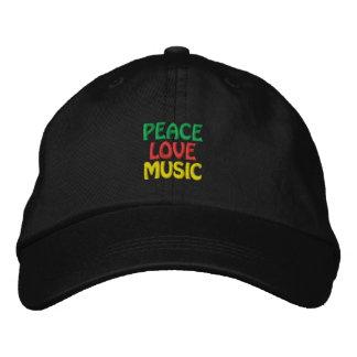 FriedensLiebe-Musik-Grün-Rot-Gold Bestickte Caps