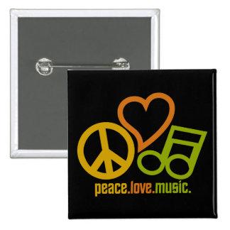 FriedensLiebe-Musikknopf Quadratischer Button 5,1 Cm